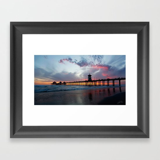 Huntington Beach Wall Decor : Sunset huntington beach pier ca  framed art