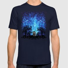 Lonely Tardis Doctor Who… Mens Fitted Tee Navy SMALL