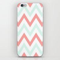 Mint & Coral Chevron iPhone & iPod Skin