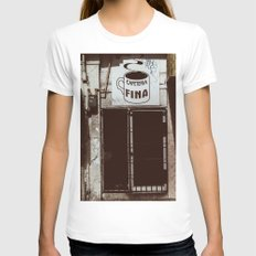 Café Fino Womens Fitted Tee White SMALL