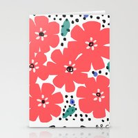Big Red Flowers Stationery Cards