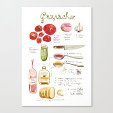 illustrated recipes: gazpacho Canvas Print