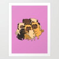 Pugs Group Hug Art Print