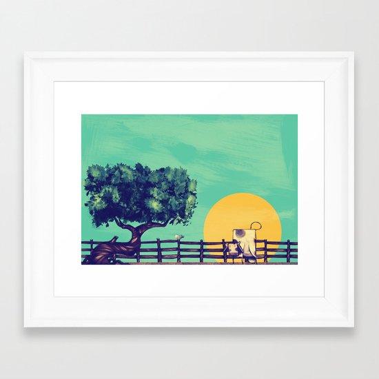 Cow Sunset Framed Art Print