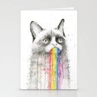 Grumpy Rainbow Cat Watercolor Stationery Cards