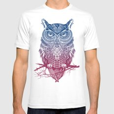 Evening Warrior Owl White Mens Fitted Tee SMALL