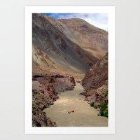 Rafting on the Zanskar River Art Print