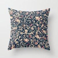 Navy Garden - Floral Doo… Throw Pillow