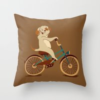 Puppy on the bike Throw Pillow
