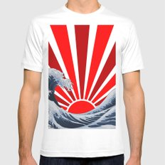Great Wave of the Rising Sun SMALL White Mens Fitted Tee