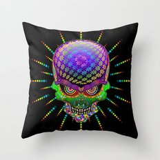 Crazy Skull Psychedelic Explosion Throw Pillow