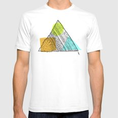 Triangle Doodle White Mens Fitted Tee SMALL