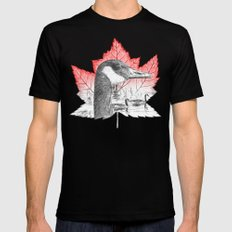 Canada Goose on Maple Leaf (with some red) SMALL Mens Fitted Tee Black