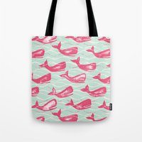 Whales In Waves Tote Bag