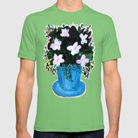 Blue Vase With Foliage A… Mens Fitted Tee Grass SMALL