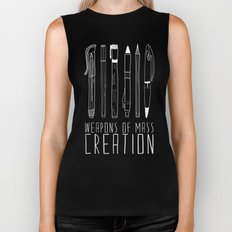 Weapons Of Mass Creation (on grey) Biker Tank
