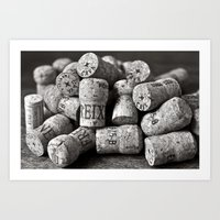 Cork of Champagne in Black and White Art Print