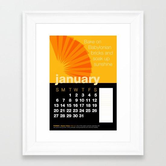 2013 Pigment to Pantone Calendar – JANUARY Framed Art Print