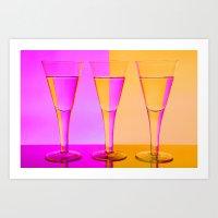 Three Coloured / Colored Wine Glasses  Art Print