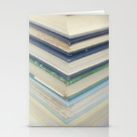 Blue chevron books Stationery Cards