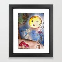 Love Cat and Moon Framed Art Print