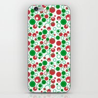 Circle Pattern Holiday Red Green and White iPhone & iPod Skin