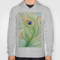 Green Watercolor Feather… Hoody