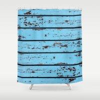 Blue Wooden Planks Shower Curtain