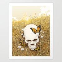 Skull and butterflies Art Print