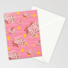 hydrangea spots and stripes Stationery Cards