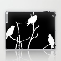 White Birds on Black Laptop & iPad Skin