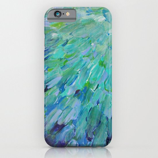 SEA SCALES - Beautiful Ocean Theme Peacock Feathers Mermaid Fins Waves Blue Teal Color Abstract iPhone & iPod Case