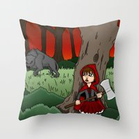 Little Red Riding Hood Versus Big Bad Wolf Throw Pillow