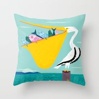 The Greedy Pelican Throw Pillow