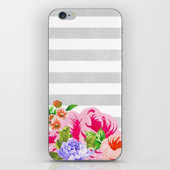 FLORAL GRAY STRIPES iPhone & iPod Skin