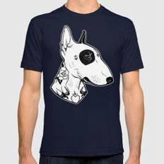 Bull Terrier dog Tattooed Mens Fitted Tee Navy SMALL