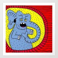 THERE'S AN ELEPHANT OUTSIDE.  (Blue). Art Print