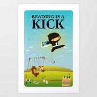 Reading is a kick Art Print