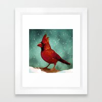 Cardinal snow Framed Art Print