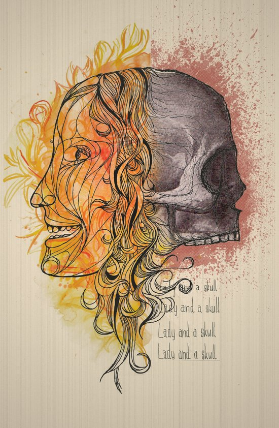 Lady and a skull Art Print