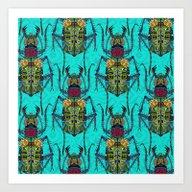 Flower Beetle Turquoise Art Print