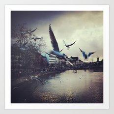 Birds in Zurich Art Print
