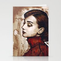 audrey hepburn Stationery Cards featuring Audrey Hepburn by Olechka