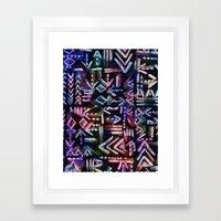 Tapa Tribal Black Framed Art Print