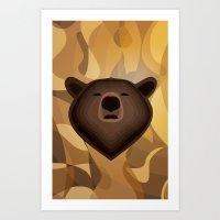 Camouflage gradient bear selfie Art Print