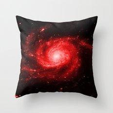Spiral gAlaxy Red Throw Pillow