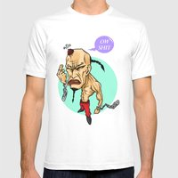 Angry Guy Mens Fitted Tee White SMALL