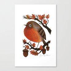 The Robin's Acorn Canvas Print