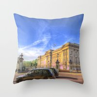 Buckingham Palace And london Taxis Throw Pillow