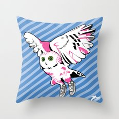 Owl w/ sneakers Throw Pillow